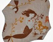 Light Core- Mendocino Mermaids Reusable Cloth Pantyliner Pad- WindPro Fleece- 8.5 Inches
