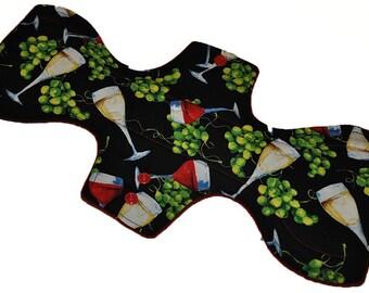 Skinny Super Hemp Core- Wine Thirty Reusable Cloth Goddess L Pad- WindPro Fleece- 14.5 Inches