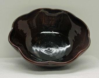Rich Brown Porcelain Flower Bowl