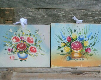 Adorable Vintage Shabby Chic Floral Paintings
