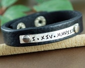 Roman Numeral Leather Bracelet, Personalized Leather Cuff Bracelet, Men's Leather Bracelets, Leather Cuff, Silver Cuff Bracelet