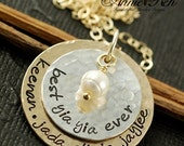 ON SALE Hand Stamped Gold Necklace, Sterling Silver,  Layered Necklace, Personalized Gold Necklace, Pearl