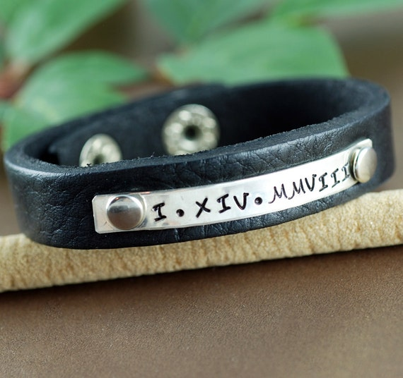 Fathers Day Gift, Roman Numeral Leather Bracelet, Personalized Leather Cuff Bracelet, Men's Leather Bracelets, Leather Cuff, Gift for Dad