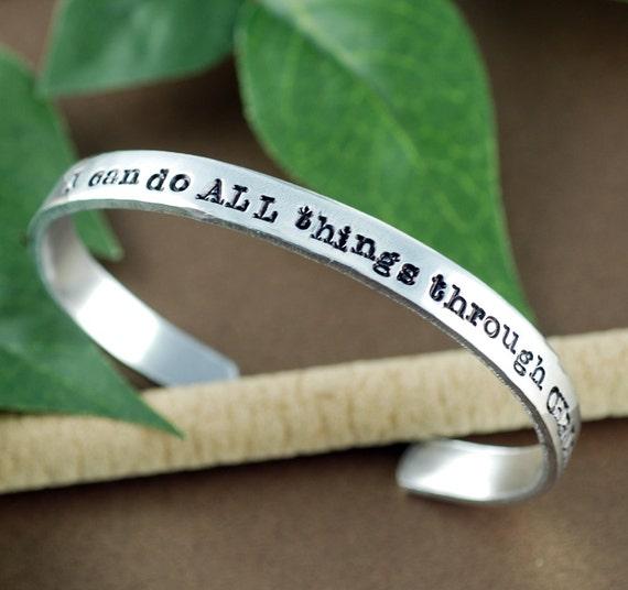 I can do ALL things through Christ Cuff Bracelet, Personalized Bracelets, Inspirational Bracelet, Motivational Bracelet, Spiritual Gift