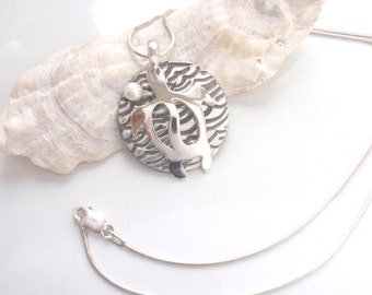 Turtle Pendant Pure Silver with a Cultured Pearl, Sea Turtle necklace