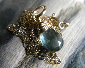 Deep blue gray moss aquamarine briolette necklace - Handmade wire wrapped gold filled jewelry