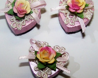 Rose, Magnets, Shabby Chic, Pink Rose, Yellow Rose, Kitchen Decor, Office Decor, Home Decor, Lace, Ribbon, Bow, Gifts for Her, Free Shipping