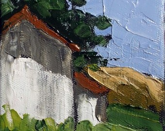 Miniature Impressionist Oil Painting 4x4 Plein Air California BARN San Luis Obispo Landscape Lynne French Art