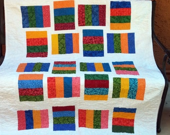 Lap Quilt, Large Baby Quilt, Red Yellow Blue Green Lap Quilt, Multi Colors Lap Quilt, Colorful Quilt, Baby Blanket, Toddler Quilt, Crib