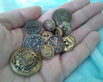 Vintage Brass Metal Military style Uniform Buttons