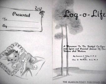 Vintage book/scrapbook, Log-o-Life, unused journal, pink girl's scrapbook, unused record book, baby shower gift, new baby gift, pink journal