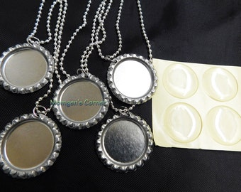5 Bottle Cap Necklace Kits with 24 inches silver ball chain, epoxy stickers, silver bottle caps, Bottle Caps necklace