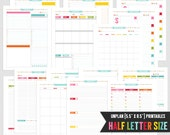 """H • UNplan Planner Page Printables PDF - 5.5"""" x 8.5"""" HALF Size Page Inserts - daily docket, weekly docket, undated calendars"""