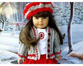 Eighteen 18 Inch Doll Clothes OSU Buckeye Set Scarlet and Gray