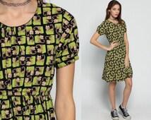 Cat Dress Babydoll 90s Grunge Mini Animal Print PSYCHEDELIC Kawaii Empire Waist 1990s Vintage Boho Black Lime Green Short Sleeve Small