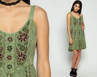 Embroidered Dress Indian Mini BABYDOLL Hippie 90s Grunge Ethnic Festival GYPSY 1990s Boho Bohemian Vintage Tank Green Small Medium