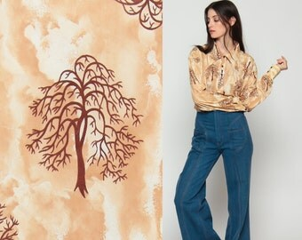 Tree Shirt Crop Top Novelty Print Blouse 70s Disco Top Hippie 1970s Boho Vintage Hipster Bohemian Long Sleeve Button Up Tan Large xl