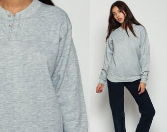 Polo Sweatshirt Grey Button Up Long Sleeve Shirt 80s Grunge Plain Pullover Retro 90s Nerd Geek Normcore Medium