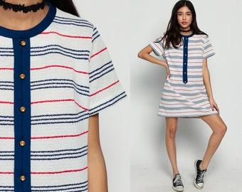 Mini Dress 60s STRIPED Red White Blue Mod Shift Button Up 1960s Twiggy Short Sleeve Vintage Stripe GoGo Plus Size Extra Large xl