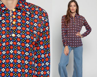Boho Blouse Floral Print 70s Disco Shirt Polo Button Up Top Mod Bohemian 1970s Hippie Vintage Hipster Orange Blue Long Sleeve Large