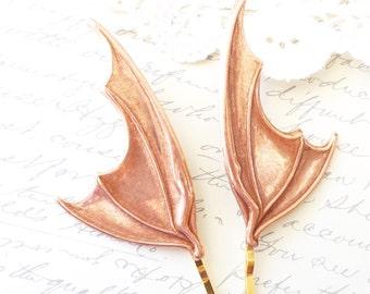 Rose Gold Bat Wing Hair Pins - Bat Wing Bobby Pins - Bat Wing Hair Accessories - Gothic - Vampire Bat Wings