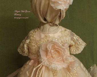 Brittany Christening gown set by Angela West Handcrafted Heirloom gown set Champagne over pink