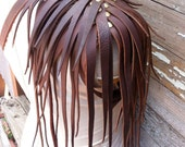 Primitive Feathered Chocolate Brown Leather Unisex Right Shoulder Harness with Brass Raven Skull