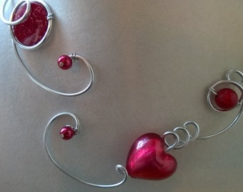 Raspberry  necklace - Raspberry jewelry, Aluminium wire jewelry - open necklace,  Bridesmaid jewelry, bridesmaid gift, wedding jewelry