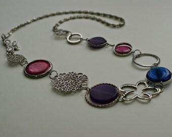 PURPLE LONG NECKLACE - Asymmetric necklace - Unique jewelry - Original gift