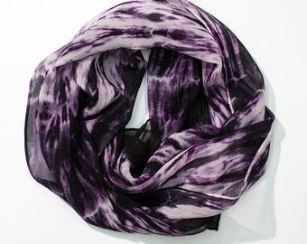 Dark Pink White and Black Abstract Hand Dyed Chiffon Shibori Silk Scarf - 421