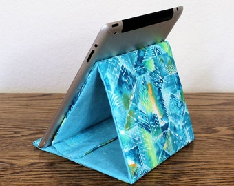 Blue Tablet Stand, Gadget Support, Padded Stand,  Paintbrush Cotton Fabric. Tech Support Triangle, iPad Stand, Folds Flat!