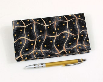 Last one! Duplicate Checkbook Cover with Pen Holder, Gold Ribbon and Stars on Black Cotton Fabric