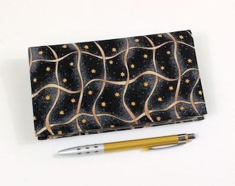 Checkbook Cover, Duplicate Checks, Pen Holder, Gold Ribbon and Stars on Black Cotton Fabric