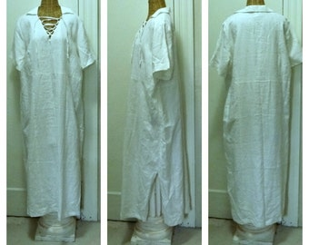 White Linen Maxi Dress Plus Size 20W, 2X Vintage Lace Up Short Sleeve