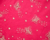 Metallic Butterfly Hot Pink Jersey Knit Fabric 1 yd