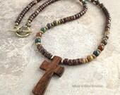 Unisex Wood Cross Necklace, Multi-color Bloodstone, Coconut Palm beads, Antique Brass Metal, Cross Jewelry for Men Women
