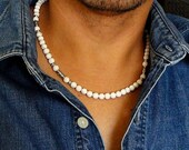 Mens Necklace, White Magnesite Stone Necklace for Men, Mens Beaded Necklace, Beach Necklace, Surfer, Tribal, Mens Jewelry