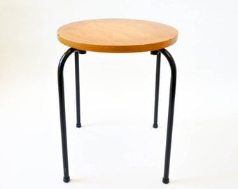 Vintage 1950s Stool / Low Stool, Wood Seat and Bent Metal Legs / More Available