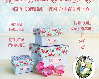Dollhouse Miniature Box Set Digital Download Printable Paper Craft Pattern Mini 12th Scale Blue Floral Boxes DIY Tutorial Included