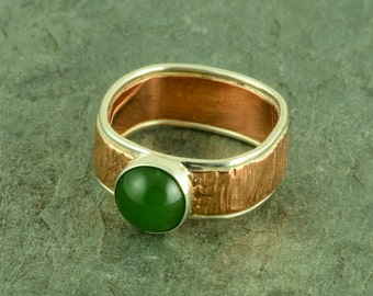 Handcrafted Jade Ring set in a Sterling Silver and Copper Band