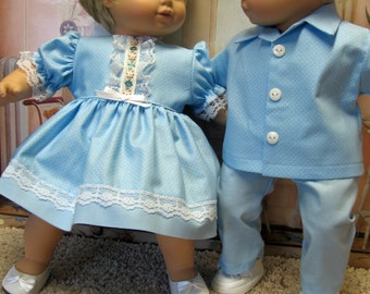 Pastel Blue Pin-Dot Outfits for Bitty Baby Twins Dolls