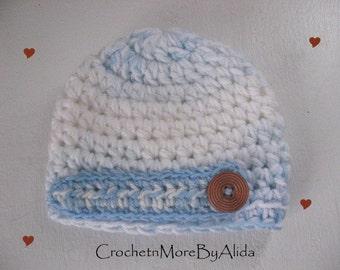 Crochet baby boy hat,  0 to 3 months, boy hat, Crochet hat Boy,  photo prop, hat baby boy, Baby Blue Beanie, Baby boy gift