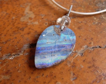 Boulder Opal pendant necklace  - for lovers of blue and the ocean - handmade one of a kind natural jewelry