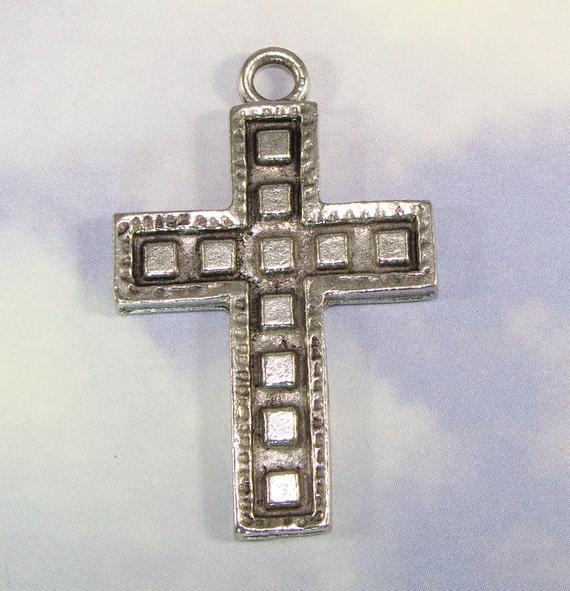 4 Cross Charms Pendants Silver Pewter USA Made (34076) Religious Symbol Christian Cross Silver Cross Pendant Bulk Art Deco Block Design