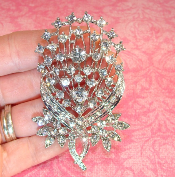 Flower Pin Rhinestone Brooch Sparkling Approx 3in Silver