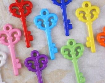 20% off SALE 10 Acrylic Fancy Lg Keys Pendants Mixed Rainbow of Colors Kitsch 62mm (C459)
