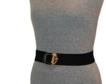 Vintage Gold and Silver Buckle Stretch Belt Elastic Belts For Women Black Elasticated Belt Ladies Black Belt Ladies Elasticated Belt