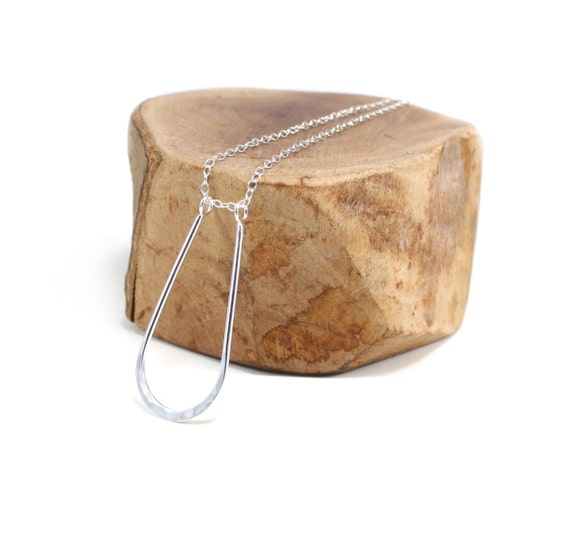 recycled silver modern horseshoe necklace