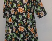 Plus Size Tunic, Coco and Juan, Plus Size Top, Asymmetric Tunic Top, Spring Flowers Traveler Knit Size 2 (fits 3X,4X)   Bust 60 inches