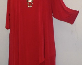 Plus Size Tunic Coco and Juan Plus Size Asymmetric Tunic Top Dark Red Traveler Knit Size 1 (fits 1X,2X)   Bust 50 inches